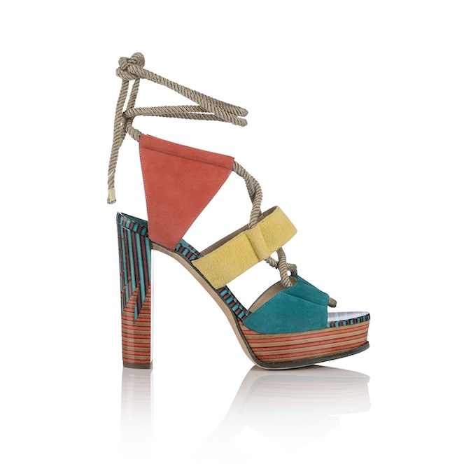 HALLEY 120-SUEDE PALM PRINT LEATHER- MALIBU BUTTERCUP CORAL