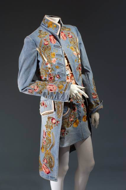 Roberto Cavalli, ensemble, embroidered denim, spring 2003, Italy, Gift of Roberto Cavalli,
