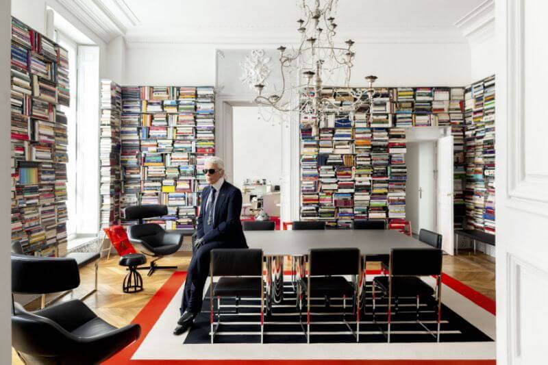 Karl Lagerfeld in his office on the rue des Saints Fathers. Matthieu Salvaing/Courtesy Photo